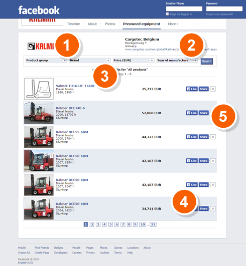 Example image of a Facebook dealer page